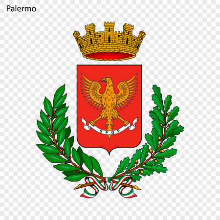 Emblem of Palermo. City of Italy. Vector illustration