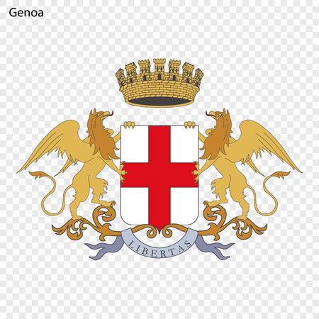 Emblem of Genoa. City of Italy. Vector illustration Illustration
