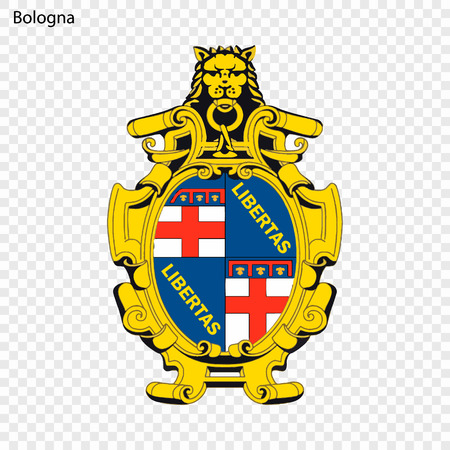 Emblem of Bologna. City of Italy. Vector illustration Vectores