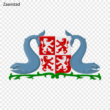 Emblem of Zaanstad. City of Netherlandsl. Vector illustration