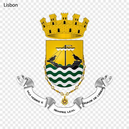 Emblem of Lisbon. City of Portugal. Vector illustration