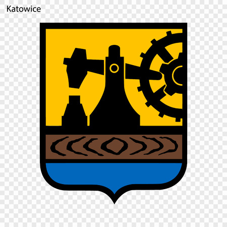 Emblem of Katowice. City of Poland. Vector illustration Ilustracja