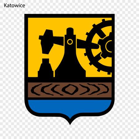 Godło Katowic. Miasto Polski. Ilustracja wektorowa