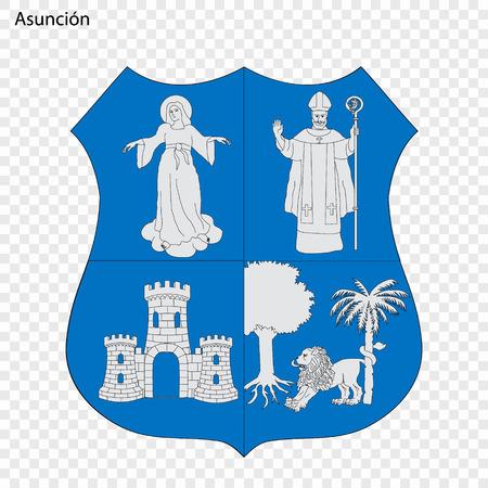 Emblem of Asuncion. City of Paraguay. Vector illustration Illustration