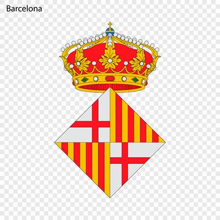 Emblem of Barcelona . City of Spain. Vector illustration