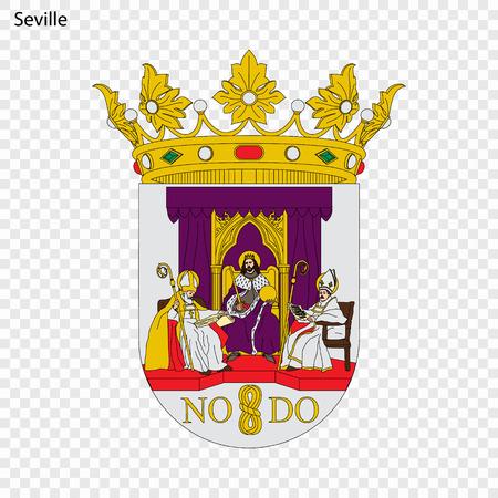 Emblem of Seville. City of Spain. Vector illustration