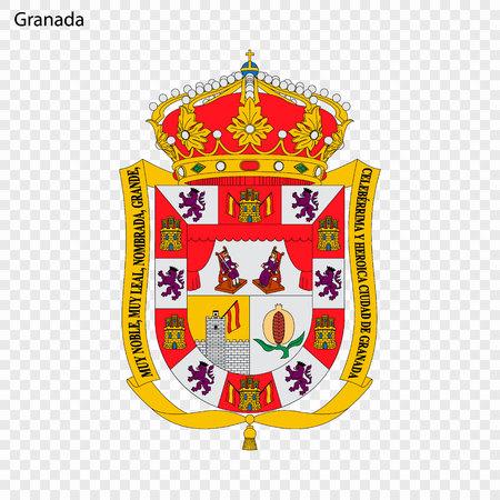 Emblem of Granada. City of Spain. Vector illustration Ilustração