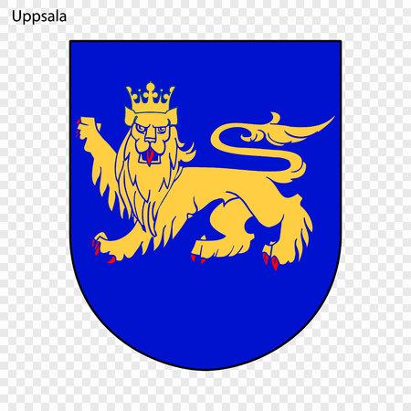 Emblem of Uppsala. City of Sweden. Vector illustration