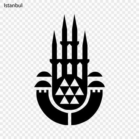Emblem of Istanbul. City of Turkey. Vector illustration Çizim