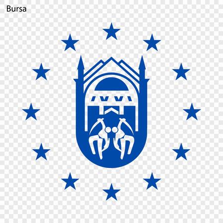 Emblem of Bursa. City of Turkey. Vector illustration