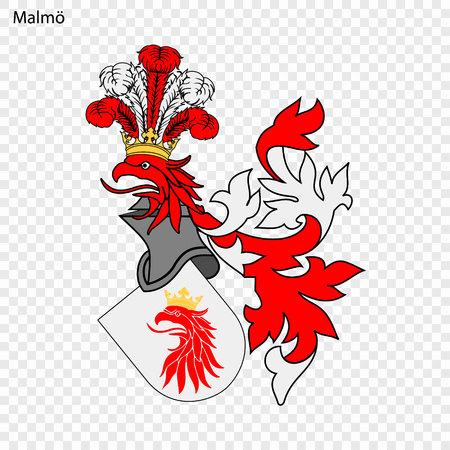 Emblem of Malmo. City of Sweden. Vector illustration