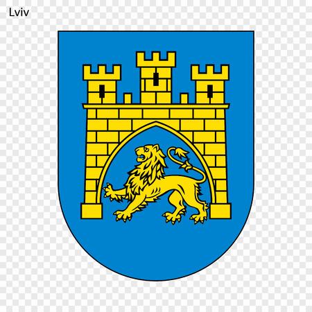 Emblema de Lviv. Ciudad de Ucrania. Ilustración vectorial