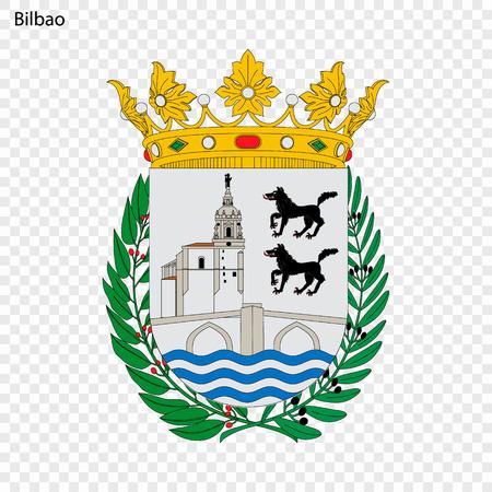 Emblem of Bilbao. City of Spain. Vector illustration