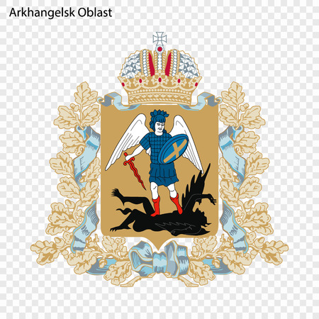 Emblem of Arkhangelsk Oblast, province of Russia Vectores