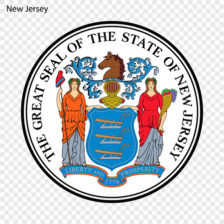 Emblem of New Jersey, state of USA. Vector illustration