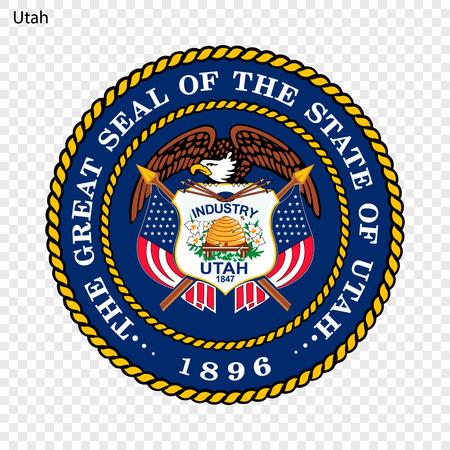 Emblem of Utah, state of USA. Vector illustration 向量圖像
