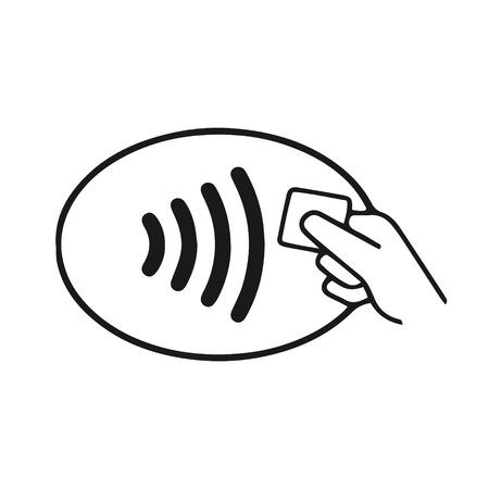 Symbol für NFC-Kontakt weniger drahtloses Bezahlen. Vektorgrafik