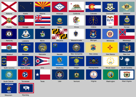 Vector illustration of different countries flags set. All flags States of USA