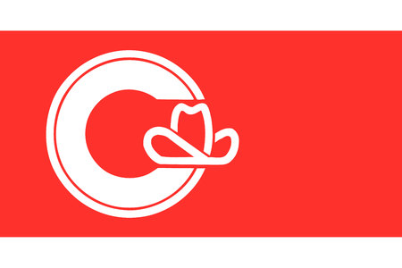 Simple flag of Calgary. City of Canada. Correct colors, proportion 2 3