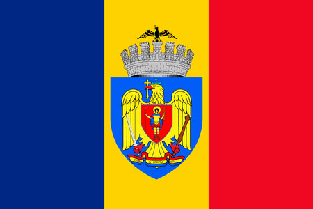Simple flag of Bucharest. Correct size, proportion colors Vettoriali