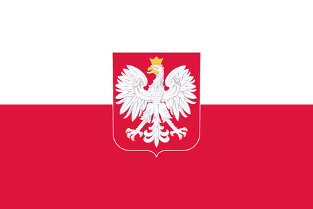 Original flag of Poland with coat of arms Çizim