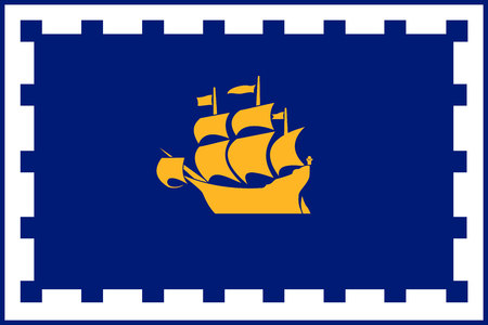 Simple flag of Quebec City. City of Canada. Correct colors, proportion 2 3