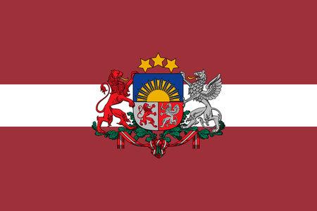 Bandera original de Letonia con escudo de armas