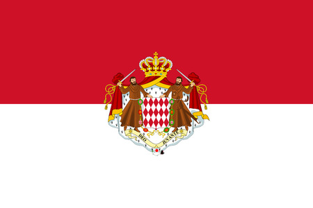 Original flag of Monaco with coat of arms