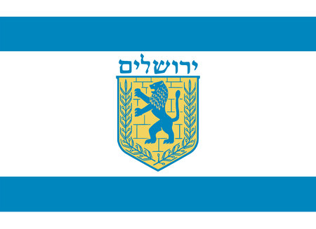 Simple flag of Jerusalem. Correct size, proportion colors