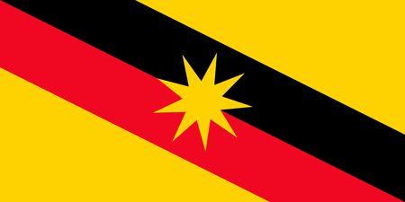 Prosty stan flagi Malezji. Sarawak Ilustracje wektorowe