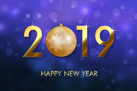 Happy New Year 2019 background. Greeting card design