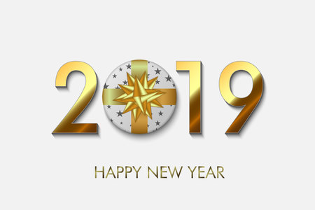 Happy New Year 2019 background. Greeting card design Stock fotó - 127726716