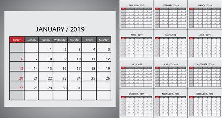 Calendar 2019 week start on Sunday. Template for planner design