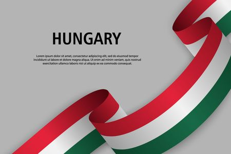 Waving ribbon with Flag of Hungary, Template for Independence day banner. vector illustration