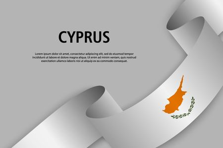 Waving ribbon with Flag of Cyprus, Template for Independence day banner. vector illustration