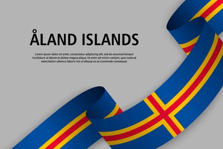 Waving ribbon with Flag of Aland Islands, Template for Independence day banner. vector illustration