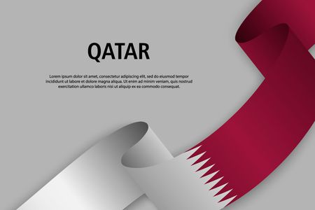 Waving ribbon with Flag of Qatar, Template for Independence day banner. vector illustration