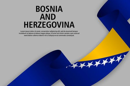 Waving ribbon with Flag of Bosnia and Herzegovina, Template for Independence day banner. vector illustration
