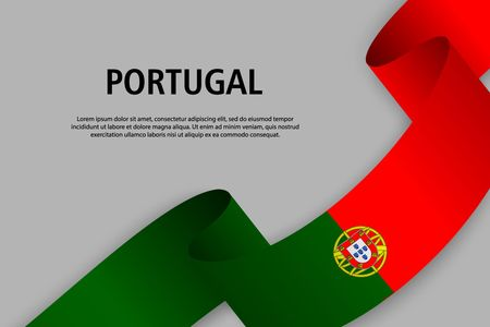 Waving ribbon with Flag of Portugal, Template for Independence day banner. vector illustration