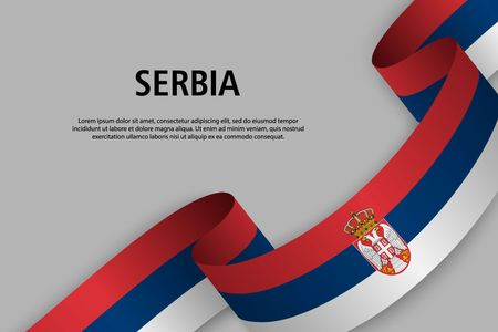 Waving ribbon with Flag of Serbia, Template for Independence day banner. vector illustration