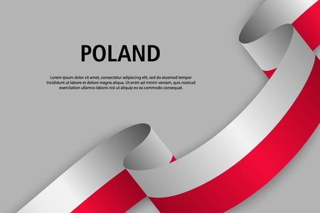 Waving ribbon with Flag of Poland, Template for Independence day banner. vector illustration