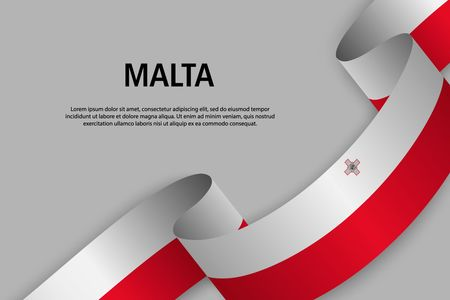 Waving ribbon with Flag of Malta, Template for Independence day banner. vector illustration