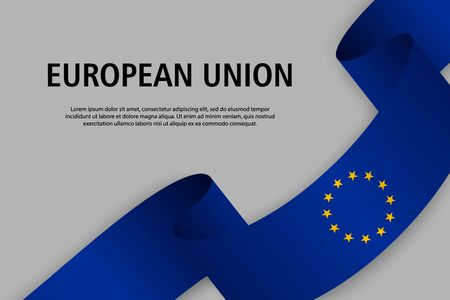 Waving ribbon with Flag of European Union, Template for Independence day banner. vector illustration Ilustração