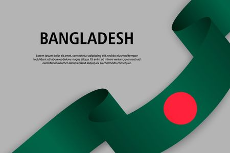 Waving ribbon with Flag of Bangladesh, Template for Independence day banner. vector illustration