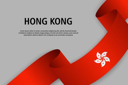 Waving ribbon with Flag of Hong Kong, Template for Independence day banner. vector illustration Иллюстрация