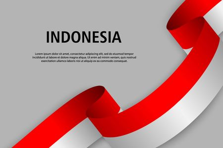 Waving ribbon with Flag of Indonesia, Template for Independence day banner. vector illustration