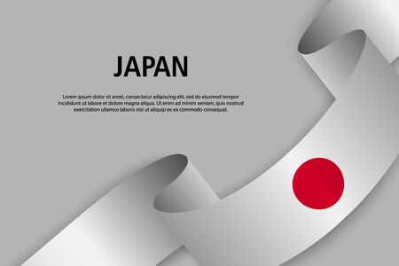 Waving ribbon with Flag of Japan, Template for Independence day banner. vector illustration