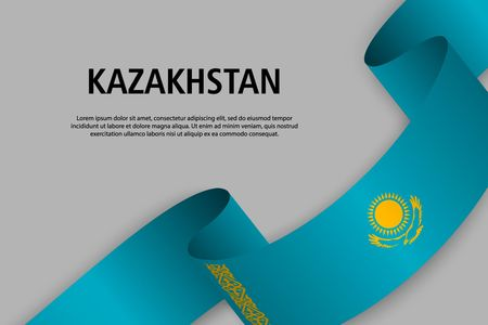 Waving ribbon with Flag of Kazakhstan, Template for Independence day banner. vector illustration Иллюстрация