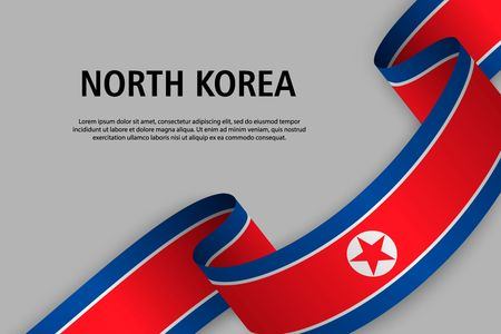 Waving ribbon with Flag of North Korea, Template for Independence day banner. vector illustration Иллюстрация