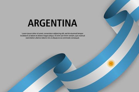 Waving ribbon with Flag of Argentina, Template for Independence day banner. vector illustration